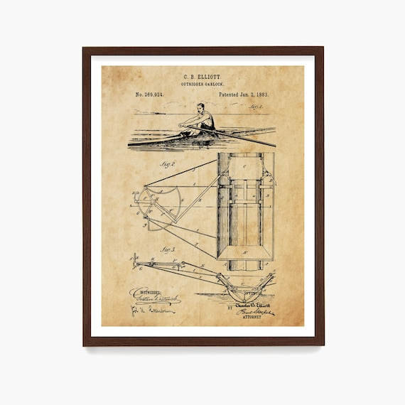 Rowing Patent Art, Row Boat, Sculling Patent, Scull, Crew Art, Crew Poster, Crew Patent, Rowing Art, Rowing Decor, Rowing Gift