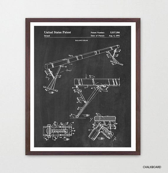 Gymnastics Patent Art - Gymnastics Poster - Gymnast - Gymnast Poster - Gymnast Patent - Olympics - Balance Beam Patent Art - Gym
