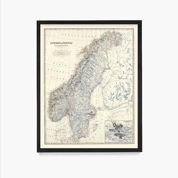 Sweden Map, Norway Map, Sweden Wall Art, Sweden Poster, Travel, Norway Art, Norway Poster, Map Art, Map Decor, Europe, Scandinavia