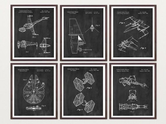 Star Wars Patent Super Set - Star Wars SpaceCraft  B Wing  X Wing Millenium Falcon TIE Fighter Star Wars Art - Star Wars Poster - Sci Fi