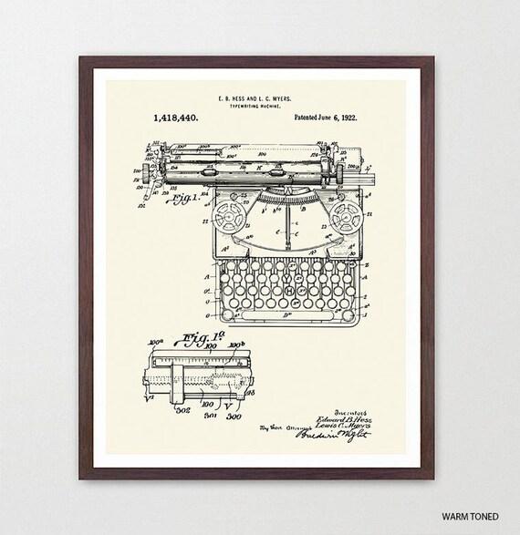 Typewriter - Typewriter Poster - Typewriter Print - Writers - Typewriter Patent - Literary Poster - Writing Poster  Novel - Book Art Fiction