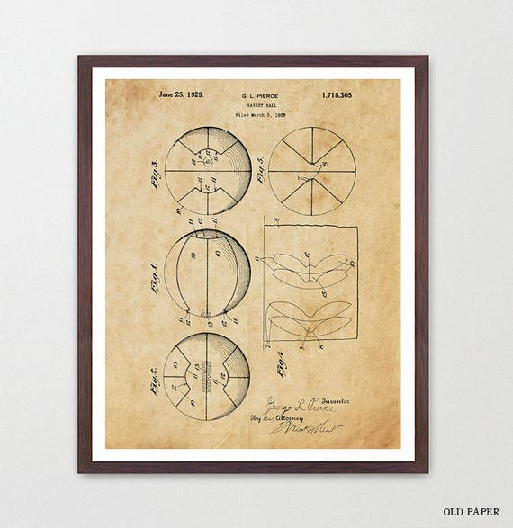 Basketball Wall Art - Basketball Patent - Basketball Art - Basketball Poster - Vintage Basketball - Basketball Decor - Hoops - B Ball