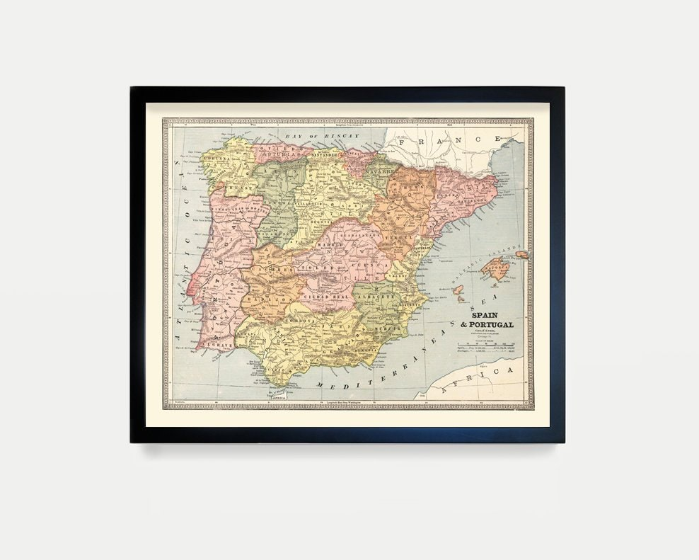 Map Of Spain With Barcelona.Spain Map Spain Art Spain Decor Barcelona Spain Wall Art
