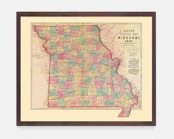 Missouri Map, Missouri Art, Missouri Poster, St Louis, State Map, Vintage Map, Missouri Art, Missouri Wall Art, St Louis Map Map Art