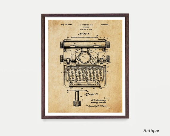 Typewriter - Typewriter Poster - Typewriter Print - Writers - Typewriter Patent - Literary Poster - Writing Poster - Novel - Typewriter Art