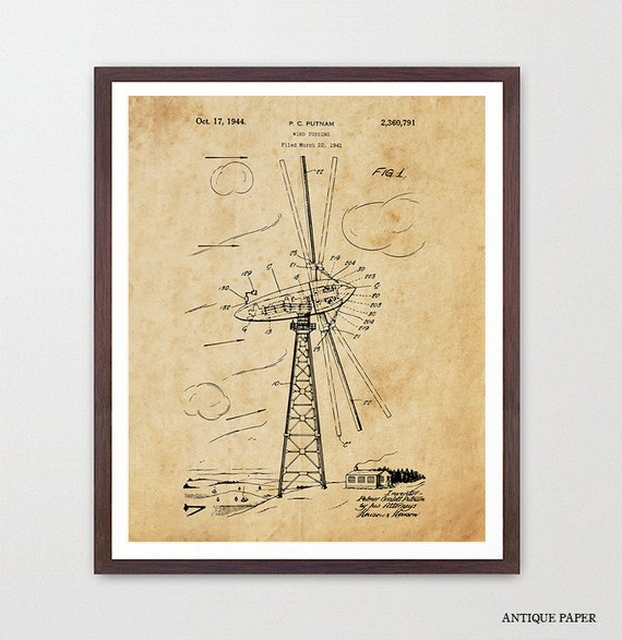 Wind Turbine Patent Poster - Wind Turbine Poster - Wind Turbine Art - Renewable Energy - Green Energy - Energy Poster - Electricity Canvas