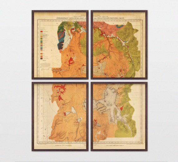 Yellowstone National Park Map - Antique Map - Archival Reproduction - Yellowstone Art - Yellowstone Wall Art - National Park - Vintage Map