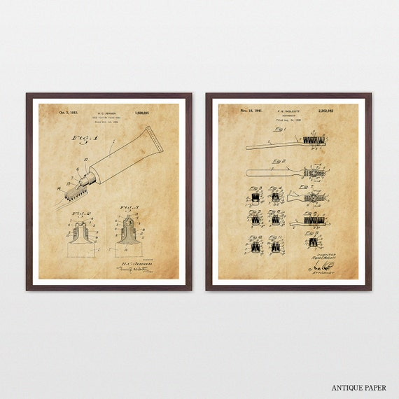 Bathroom Patent Art - Toothbrush - Toothpaste - Toothbrush Patent - Toothpaste Patent - Toothbrush Art - Bathroom Decor - Bathroom Wall Art