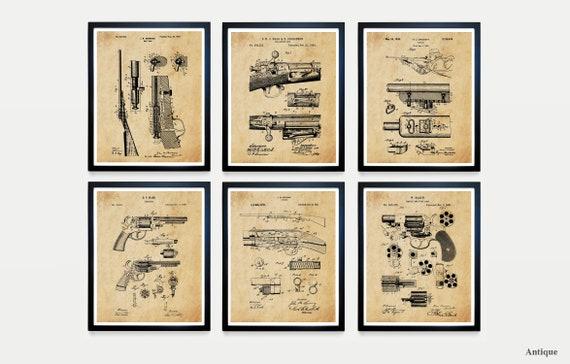 Gun Patent Art, Gun Art, Firearm Patent, Firearm Art, Gun Poster, Gun Wall Art, Rifle Patent, Firearm Art, Revolver, Gun Gift