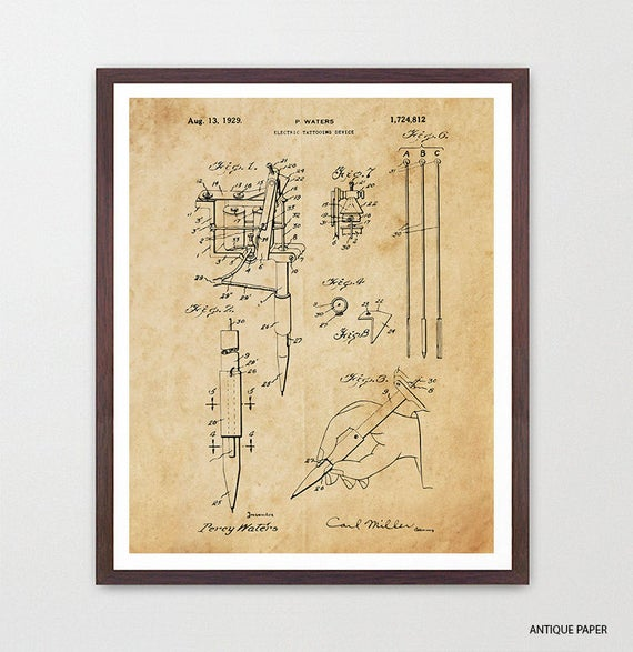 Tattoo Poster - Tattoo Art Print - Vintage Tattoo Machine - Ink - Body Art Poster - Tattoo Gun - Tattoo Patent - Tattoo Shop - Tattoo Art