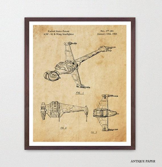 Star Wars - B Wing Fighter - Star Wars Patent - Star Wars Poster - Star Wars Art - Imperial - B Wing Patent - Star Wars Wall Art - Sci Fi