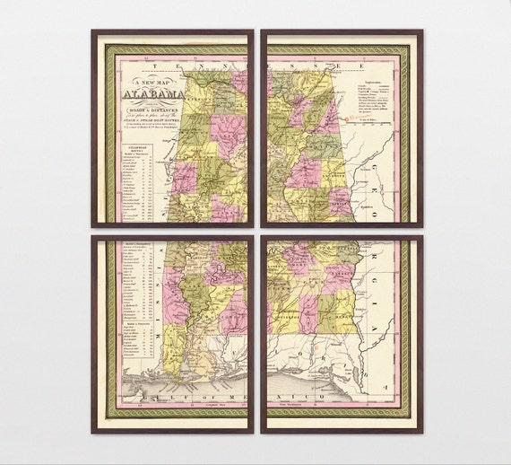 Alabama Map - Antique Map - Archival Reproduction - Alabama Art - Alabama Poster - Alabama Wall Art - State Map - State Art - Road Map
