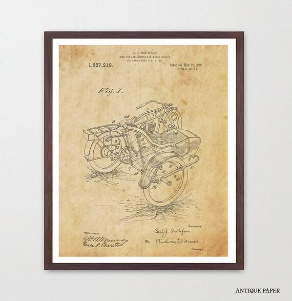 Harley Davidson Poster - Side Car - Harley Motorcycle Art Print - Motorcycle Art - Patent Print - Patent Poster - Harley Patent  - Harley