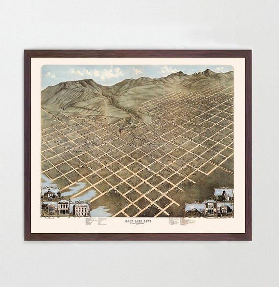 Salt Lake City Map - Utah Map Art - Map Decor - Salt Lake City Art - Utah Art - Vintage Utah - City Map - City Art - Birds Eye - Fine Art
