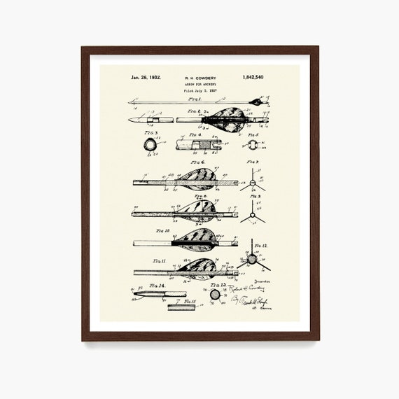 Archery Patent Poster, Bow Hunting Wall Art, Archery Art, Archery Poster, Archery Wall Art,  Archery Gift, Bow Hunter Gift, Hunting Decor