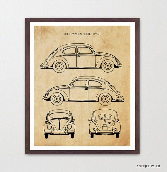 VW Beetle Patent, 1952 VW Bug, Volkswagen Poster, Volkswagen Art, Volkswagen Beetle Poster, Volkswagen Beetle Patent, VW Patent , vw Gift