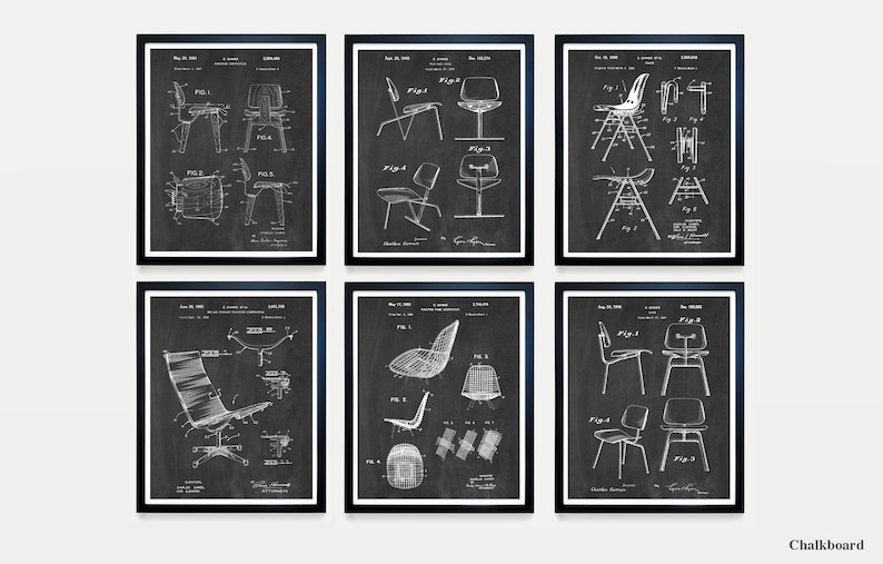Eames Poster  Eames Chair  Eames Patent  Charles Ray Eames Chalkboard