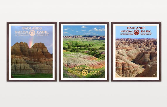 Badlands National Park - Badlands Poster - Badlands National Park Art - National Park Poster - WPA - WPA Poster - South Dakota - Nature