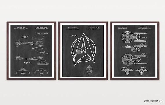Star Trek Patent - Star Trek Art - Star Trek Enterprise - Star Trek Poster - Star Trek Wall Art - Star Trek Gift - Captain Kirk - Sci Fi Art