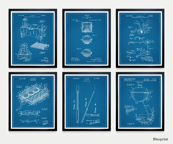 BBQ Patent Art - Barbecue Patent - Barbecue Poster - Grill - Smoker - BBQ Art - BBQ Poster - Bbq Decor - Barbecue Art - Grill Patent - Cook