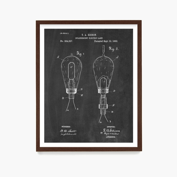 Light Bulb Patent, Edison Patent Art, Thomas Edison Invention, Industrial Design, Architectural Decor, Light Bulb Poster