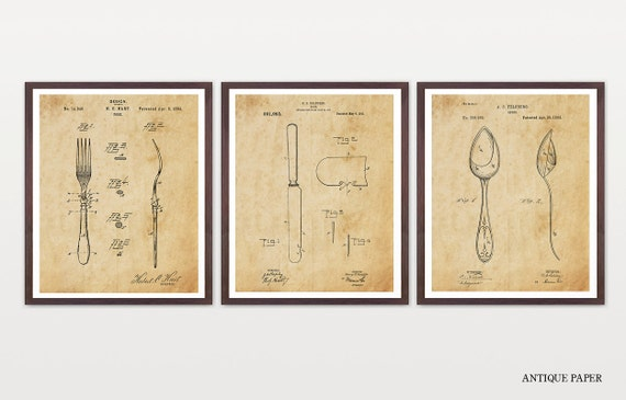 Silverware Patent Set - Cutlery Patent - Kitchen Poster Art - Fork Patent - Knife Patent - Spoon Patent - Dining Room Patent - Kitchen Art