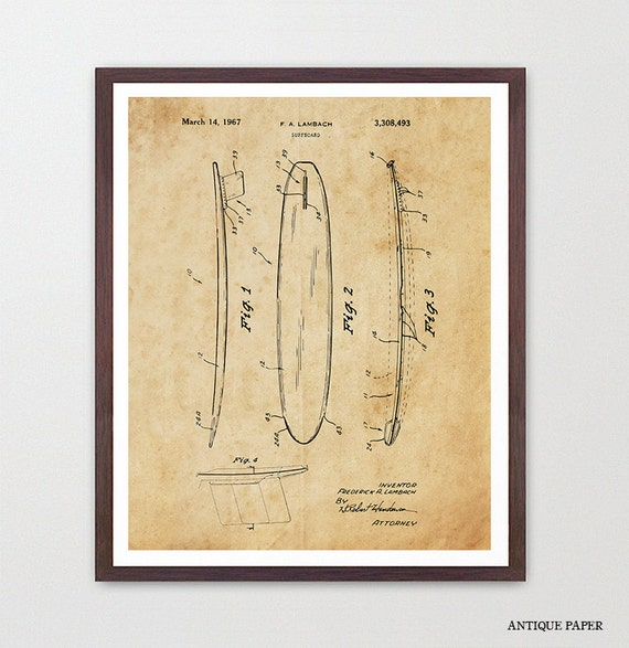 Surf Poster, Surfboard Patent, Surf Art, Vintage Surfing Art, Surfboard, Surfing Poster, Ocean Art, Beach Art, Beach house Decor, Surf Gift