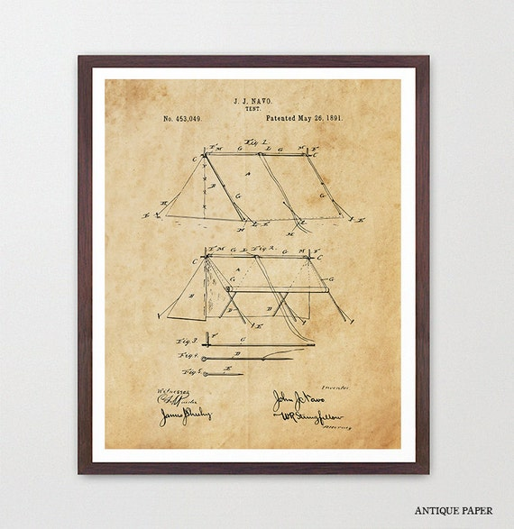 Camping - Tent - Tent Art - Tent Poster - Tent Patent - Camping Patent - Campsite - Hiking - Outdoors - National Park Art - Boy Scouts