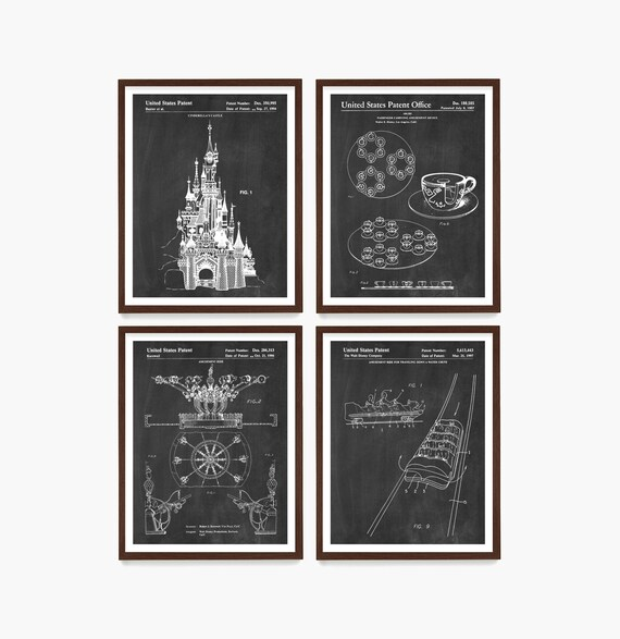 Disneyland Poster, Disneyland Art, Disneyland Patent, Walt Disney, Magic Kingdom, Cinderella, Disney Patent, Walt Disney Patent, Disney Gift
