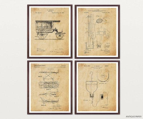 Ambulance Patent - Paramedic Patent Poster - Paramedic Art - Medic - Medicine - Doctor - First Aid - Doctor Patent - Ambulance Art