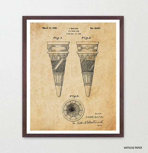 Ice Cream Patent - Ice Cream Art - Ice Cream Cone - Ice Cream Scoop - Ice Cream Shop - Ice Cream Poster - Ice Cream Wall Art - Chocolate
