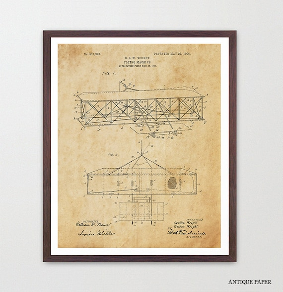 Wright Brothers Patent - Airplane - Airplane Patent - Airplane Art - Airplane Wall Art - Aviation - Early Aviation - Wright Brothers Art