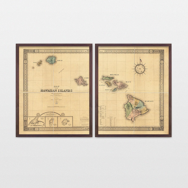 Hawaii Map - Antique Map - Archival Reproduction - Hawaiian Islands ...