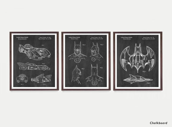 Batman Poster - Batman Patent Wall Art Poster - Batwing - Batmobile Patent - Bat Mobile - Batman Mask - Batman Art - Superhero Poster - Boy