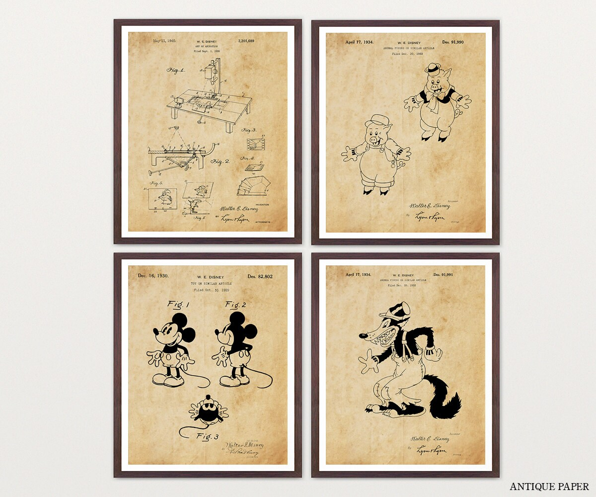 Mickey Mouse Patent Print Gallery Wrapped Canvas Print