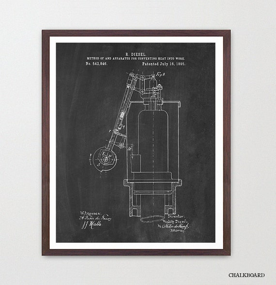 Diesel Engine Patent Poster - Rudolf Diesel - Diesel Mechanic - Engine Art - Engine Patent - Engine Poster - Truck Engine - Canvas Print