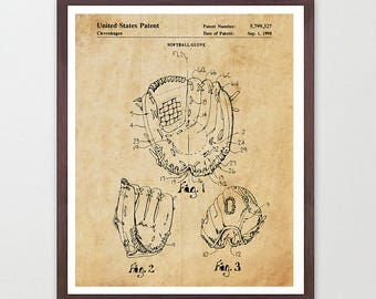 Softball Glove - Softball Patent - Softball Patent Art - Softball Poster - Softball Decor - Softball Wall Art - Girls Room Decor - Glove