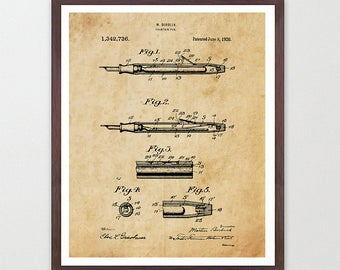 Fountain Pen Patent Poster - Office Poster - Office Wall Art - Pen Art - Pen Poster - Writing - Literary - Professional Legal - Office Decor