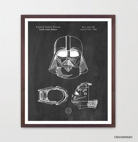 Darth Vader Patent Art, Darth Vader Helmet, Vader Mask, Star Wars Patent, Star Wars Art, Star Wars Poster,  Darth Vader Art, Star Wars Gift