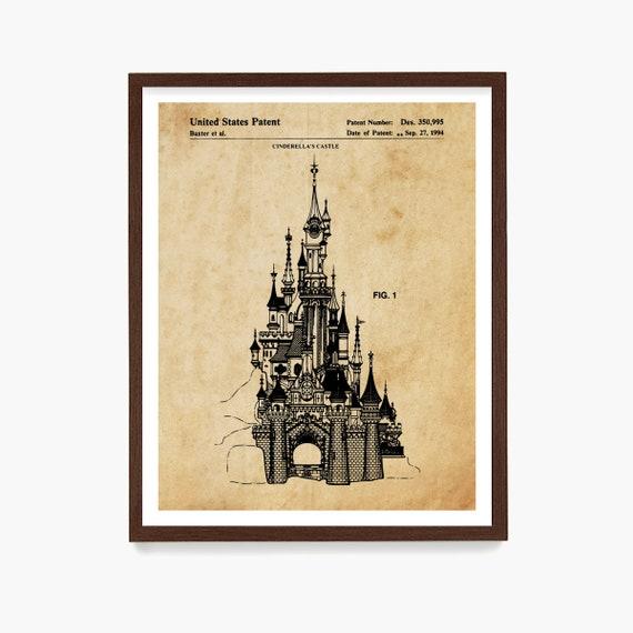 Disneyland Patent, Disneyland Patent Art, Cinderella, Magic Kingdom, Disneyland, Disney World Art, Girls Room Art, Girls Room Poster