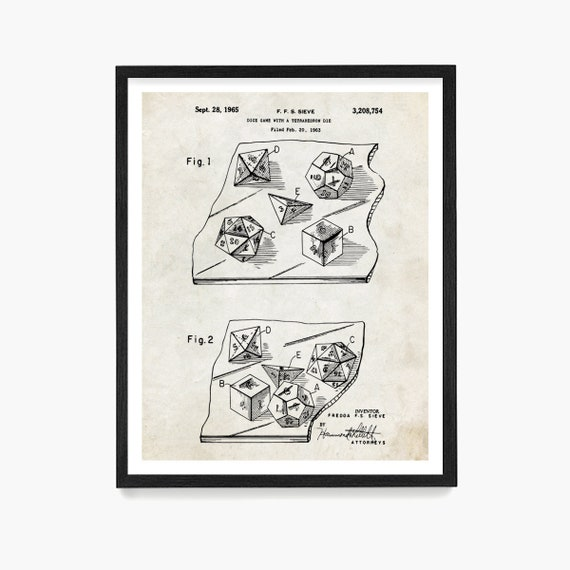 Game Dice Patent Art, Board Game Patent, Dice Patent, Dungeon Master, Vintage Board Game Dice Art, RPG Game Art, Dungeon Dice