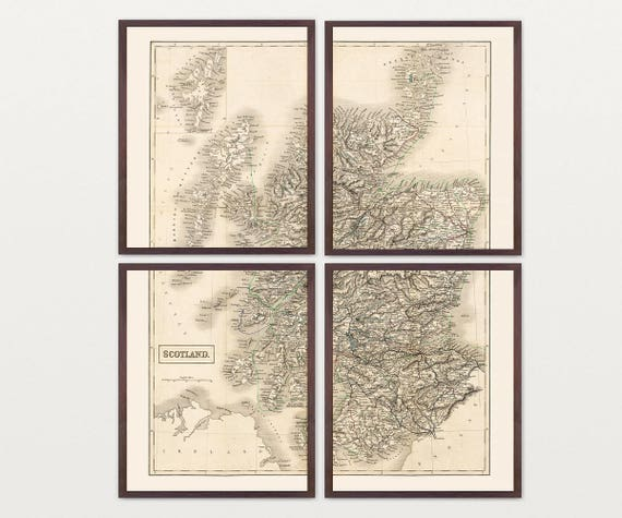 Scotland Map Wall Art, Vintage Map Decor, Homeland, Ancestry, Scottish, Europe Map, Glasgow, Great Britain, Home Wall Art, Housewarming Gift