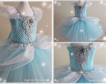 FAST SHIPPING - Disney Inspired Cinderella Dress - Princess Dress - Tutu Dress - Costume Dress - Halloween - Baby, Girl, Kids Dress