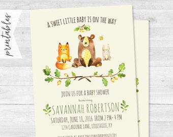 Woodland Baby Shower Invitation - Forest Animal Friends - Neutral Baby Shower - Digital File