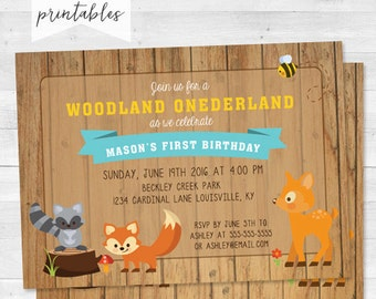 Rustic woodland One-derland Birthday Party Invitation - Woodland Friends First Birthday - Digital File