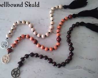 Pentacle Witch's Ladder Prayer/Meditaton Beads, You Choose Color