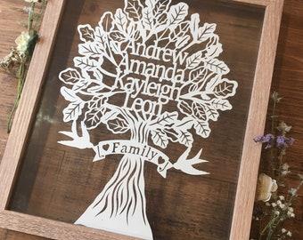 Family Tree Papercut - A4 - Art - Personalised - Papercutting - art -   - framed - bespoke - Paper cut - bird -