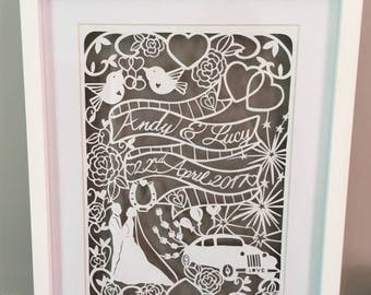 Wedding Papercut - Art - Wedding Gift - newlyweds - bride - groom - happily ever after - paper cut - paper cutout - personalised