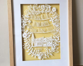 Wedding Papercut - Art - Wedding Gift - newlyweds - bride - groom - anniversary gift  - paper cut - church - personalised - paper