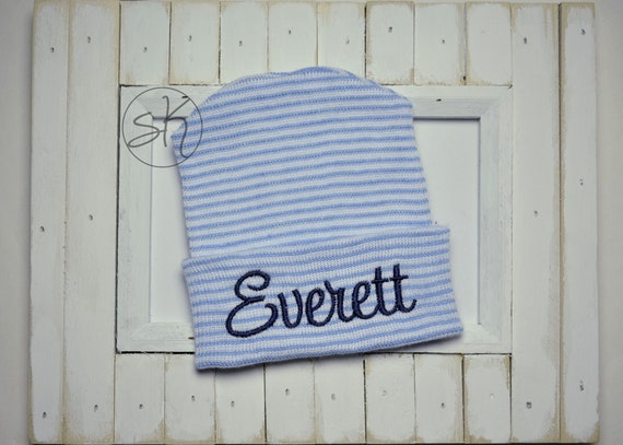 a8a0a679150 Baby Boy Hospital Hat   Personalized Newborn Hat   Newborn Hat
